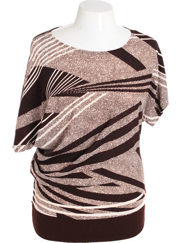 Plus Size Diva Striped Brown Top