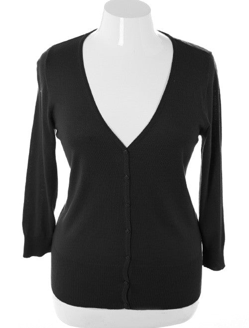 Plus Size Sexy Classic Button Down Black Cardigan