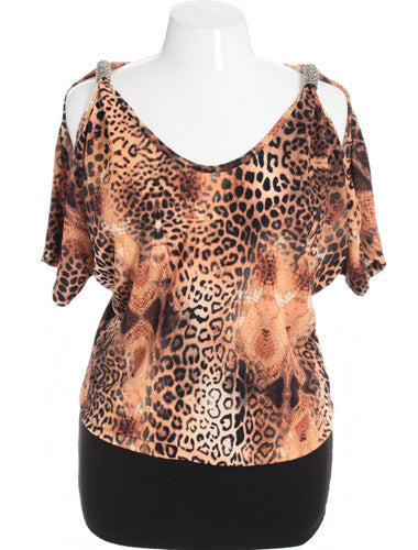 Plus Size Animal Jeweled Open Shoulder Tan Blouse