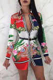 Plus Size Silky Designer Print Button Up Mini Dress