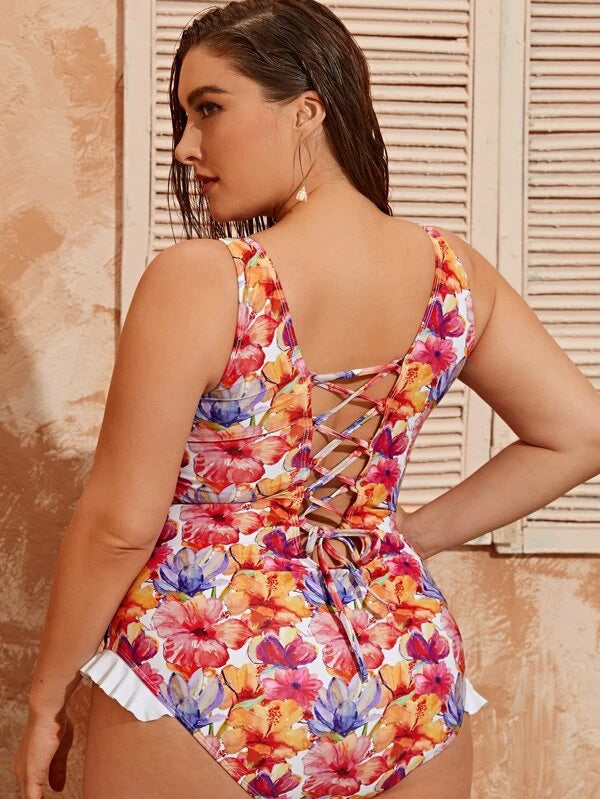Plus Size Floral Print Lace-up Back One Piece Swimwear