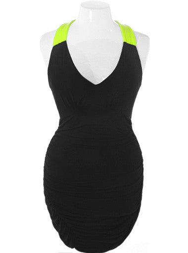 Plus Size Sexy Highlighter Yellow Club Dress