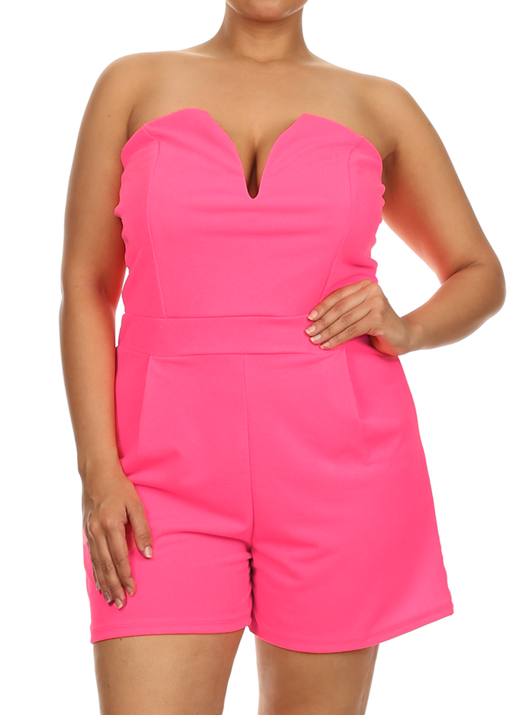Plus Size Sweetheart Sexy Pink Tube Romper