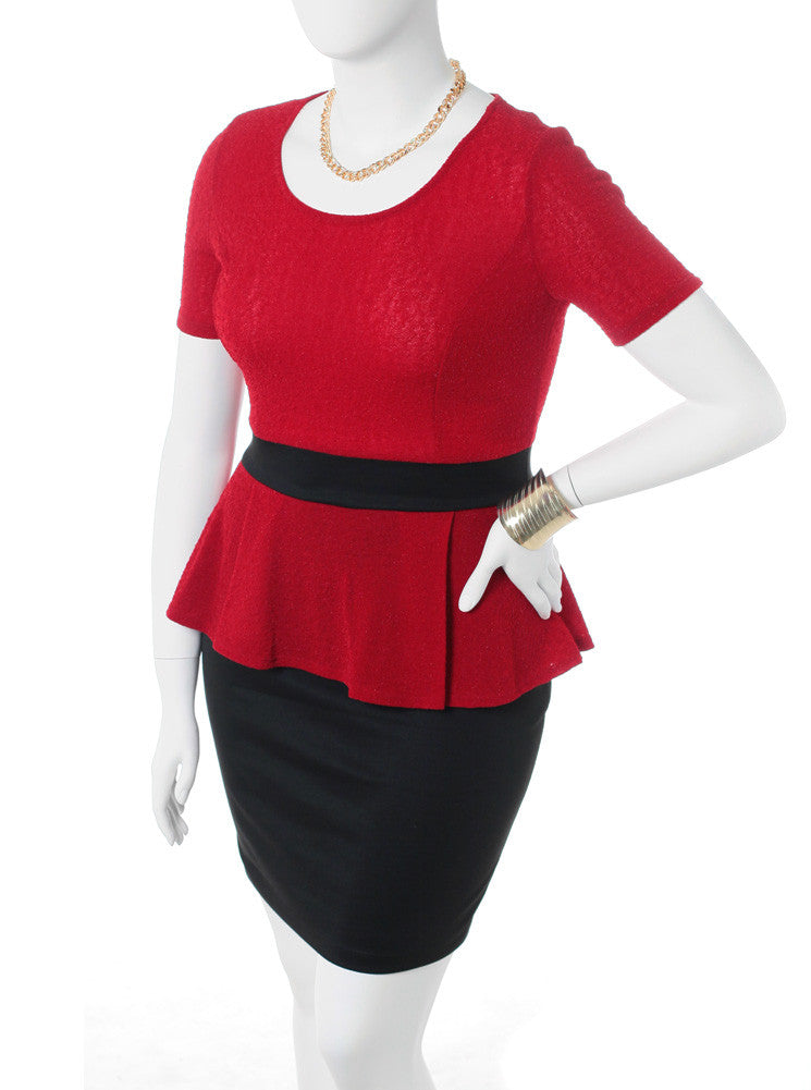 Plus Size Textured Peplum Short Sleeve Red Dress