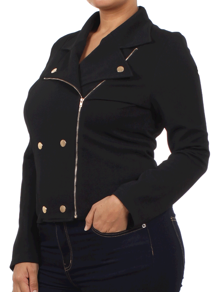 Plus Size Asymmetrical Zipper Cut Out Black Jacket