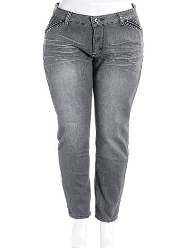 Plus Size Rock Star Zipper Jeans