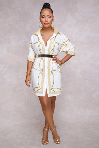 Plus Size Designer Print Diva Button Up Dress