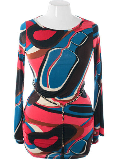 Plus Size Belted Abstract Long Sleeve Blue Mini Dress