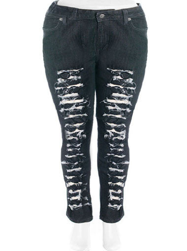 Plus Size Trendy Slashed Jeans