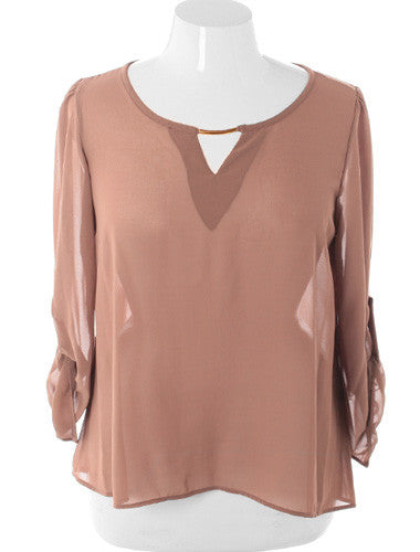 Plus Size Elegant See Through Roll Up Sleeve Taupe Top