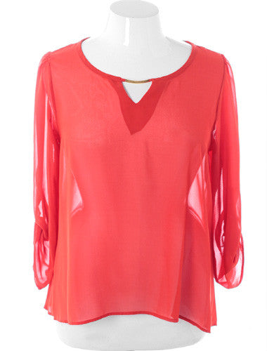 Plus Size Elegant See Through Roll Up Sleeve Coral Top