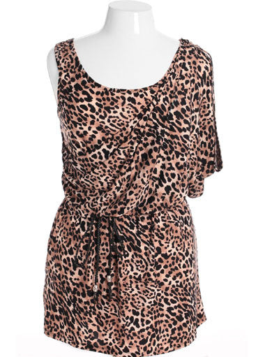 Plus Size Sexy Leopard Drape Tan Dress
