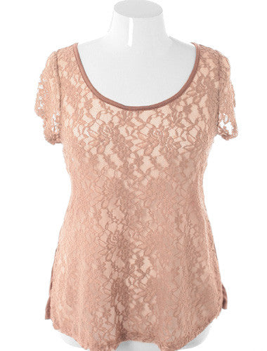 Plus Size Soft See Through Tulip Back Taupe Top