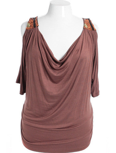 Plus Size Open Shoulder Sequined Tan Blouse