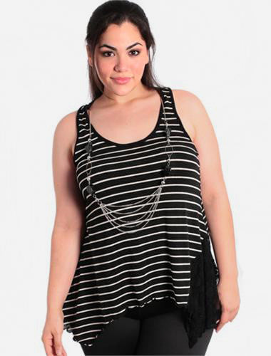 Plus Size Stylish Striped Lace Black Tank