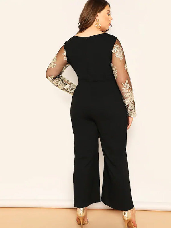 Plus Size Embroidered Mesh Bodice Wide Leg Jumpsuit