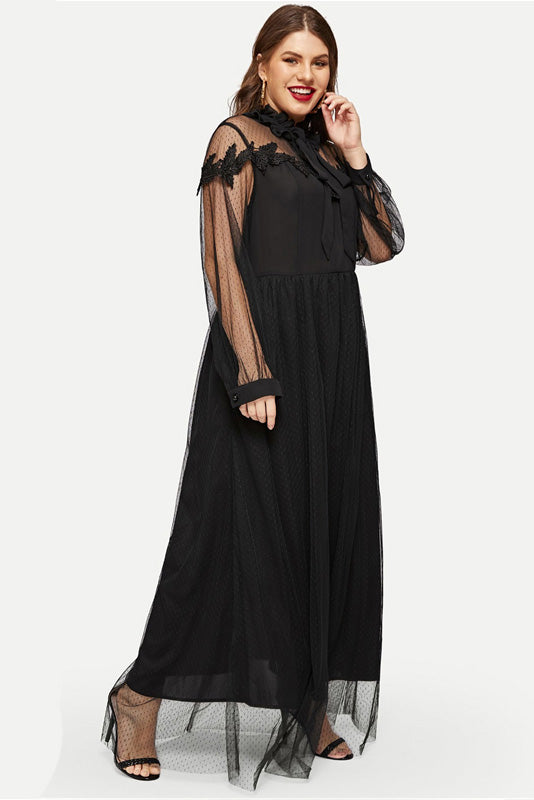 Plus Size Dashing Bow Neckline Embroidered Mesh Overlay Maxi Dress