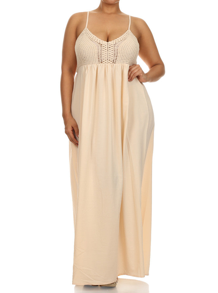 Plus Size Love Struck Crochet Peach Beige Maxi Dress