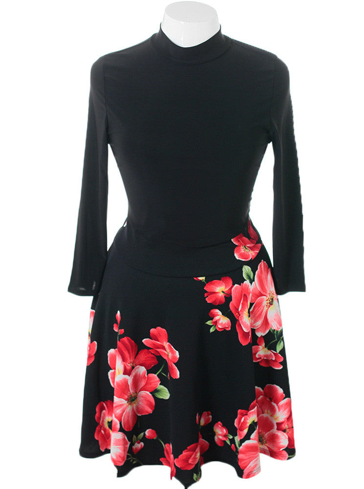 Plus Size Flared Floral Skirt Black Dress
