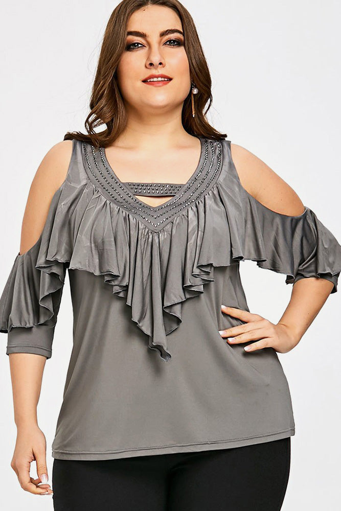 Plus Size Rhinestone Ruffle Cold Shoulder Top