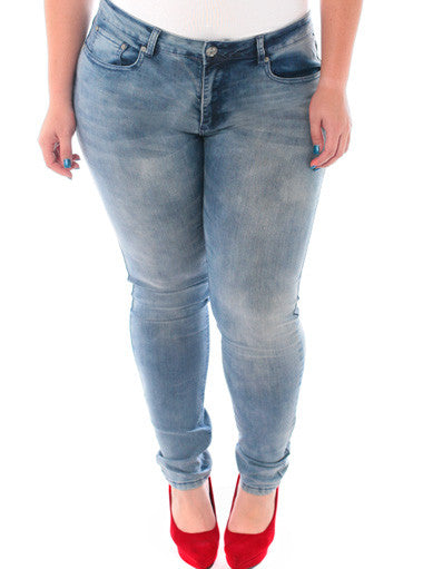 Plus Size Low Rise Premium Light Blue Skinny Jeans