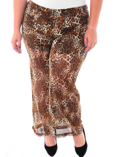 Plus Size Layered See Through Leopard Chiffon Pants