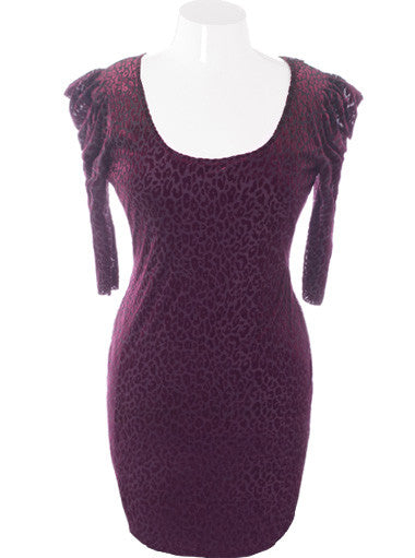 Plus Size Velvet Leopard Bold Shoulder Purple Dress