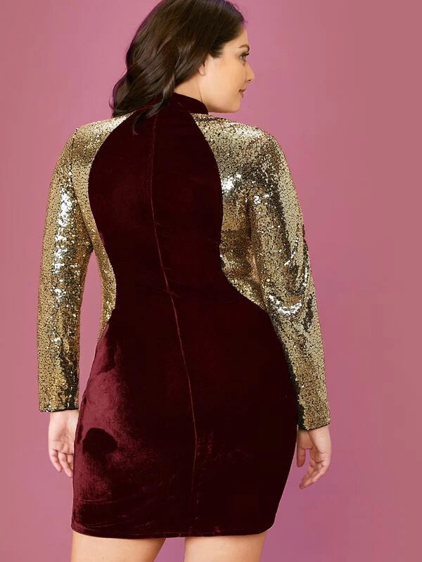 Plus Size Mock-Neck Sequin Sleeve Velvet Dress