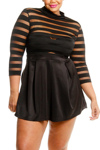 Plus Size Mock Neck Stripe Mesh Top Romper