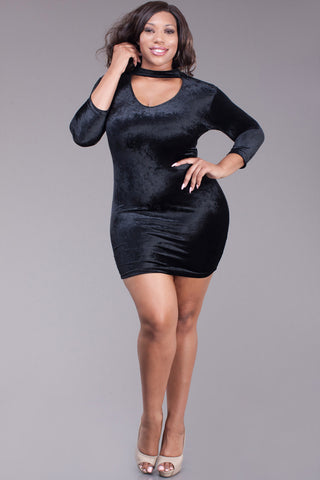 Velvet Sexy Bodycon Plus Size Mini Dress