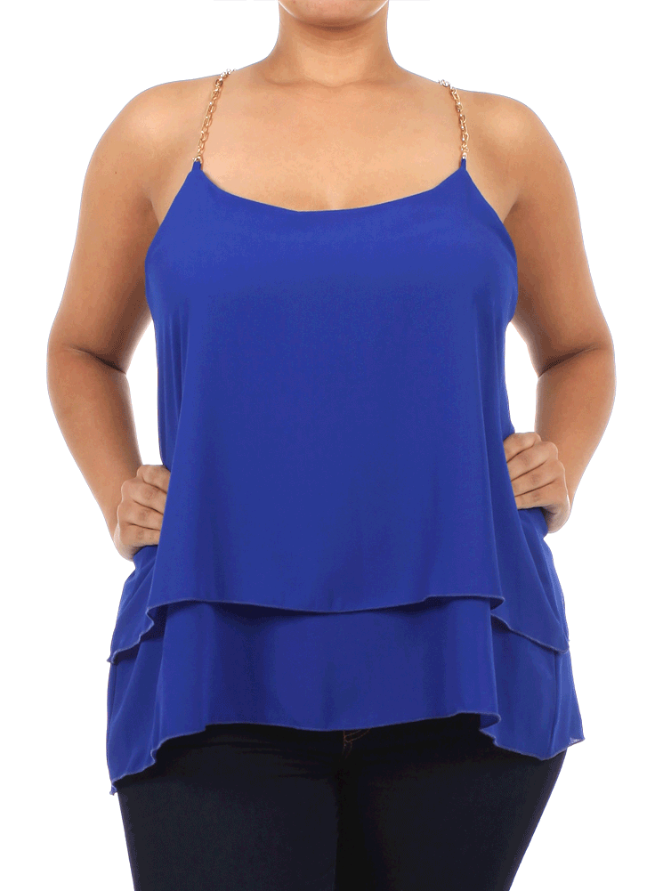Plus Size Sheer Layered Chain Straps Blue Top