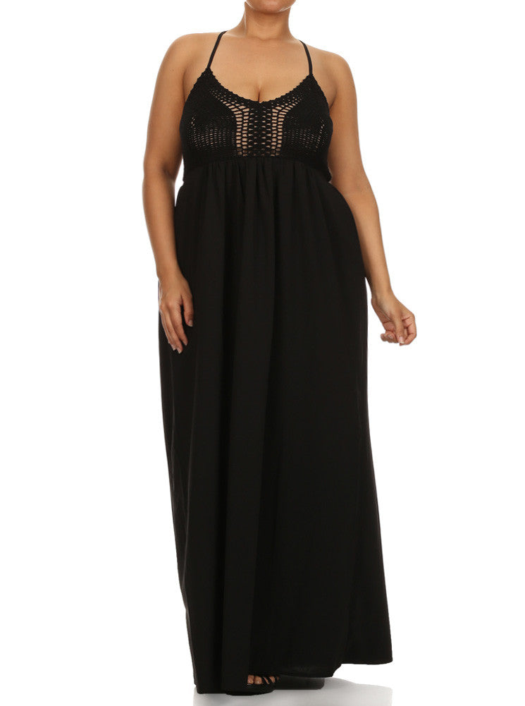 Plus Size Love Struck Crochet Black Maxi Dress Plussizefix