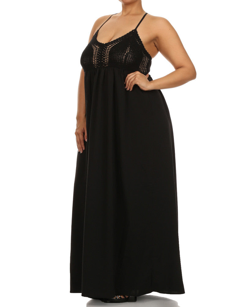 Plus Size Love Struck Crochet Black Maxi Dress