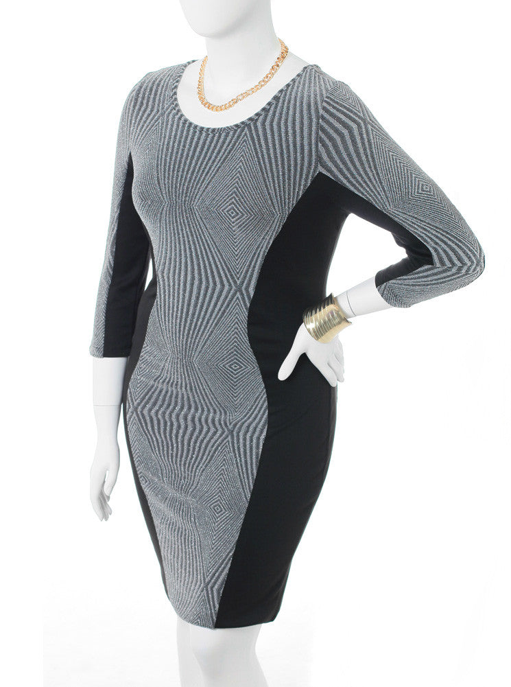 Plus Size Sparkling Stretchy Knit Silver Cocktail Dress