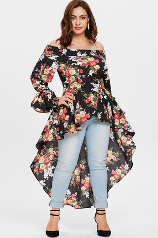 Plus Size Asymmetrical Floral High Low Maxi Dress