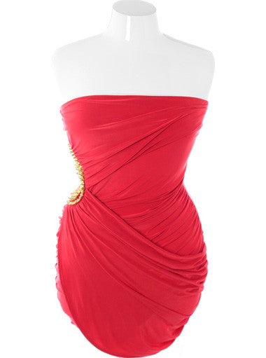 Plus Size Gold Spikes Layered Pleated Red Tube Dress