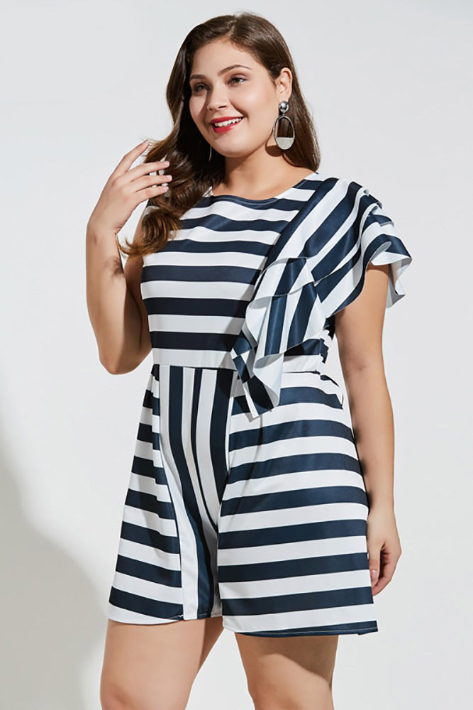 Plus Size Tiered Layer Sleeveless Striped Jumpsuit Romper