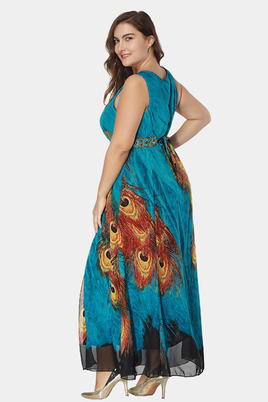 Plus Size Divine Peacock Chiffon Maxi Dress