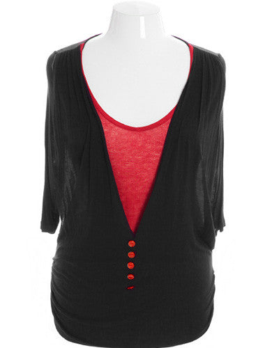 Plus Size Get It Girl Layered Vest Red Top
