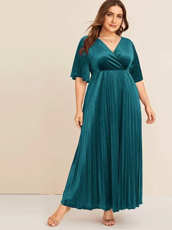 Plus Size Surplice Neck Flutter Sleeve Pleated Velvet Dress