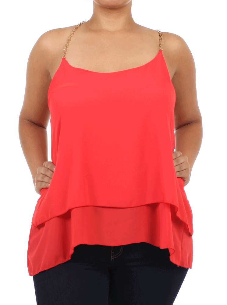 Plus Size Sheer Layered Chain Straps Coral Top