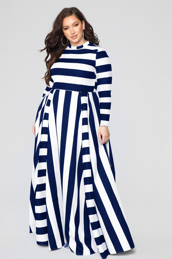 Plus Size Striped Long Sleeve Casual Maxi Dress