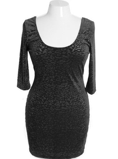 Plus Size Sexy Leopard Velvet Black Dress