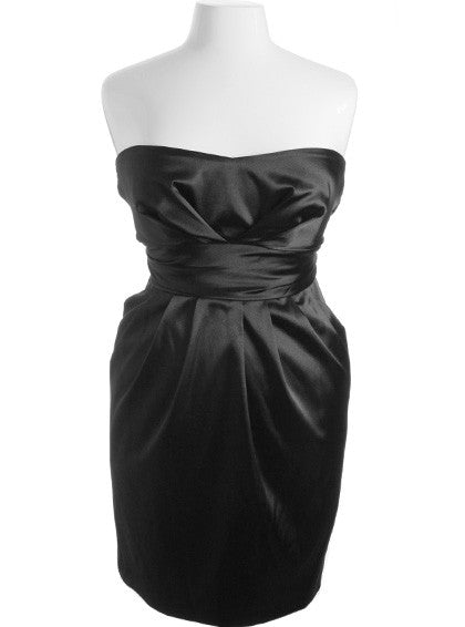 Plus Size Diva Satin Sexy Black Tube Dress