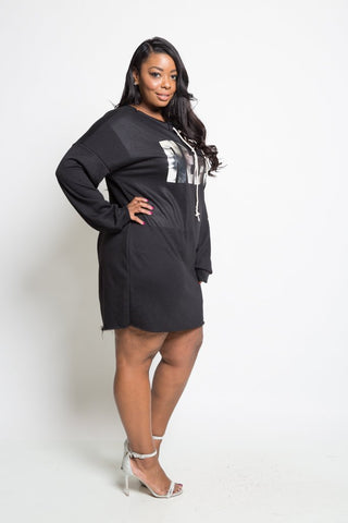 Plus Size Cozy Loose Tie Up REBEL Dress