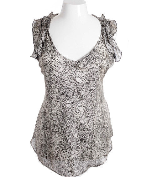 Plus Size Cheetah Tiered Ruffled Shoulder Sleeveless Top
