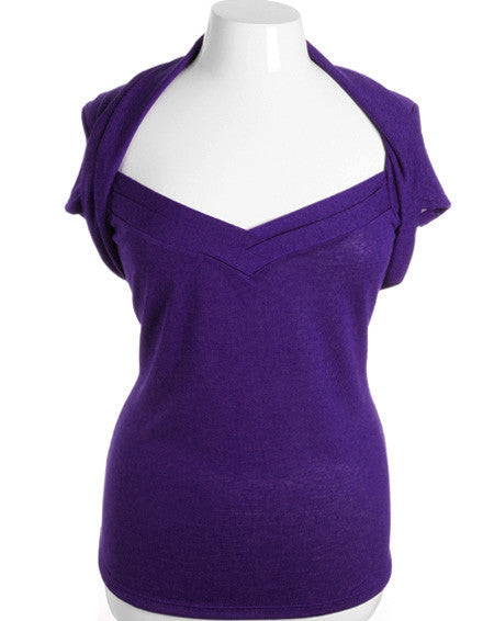 Plus Size Adorable Shrug Layered Collar Purple Top