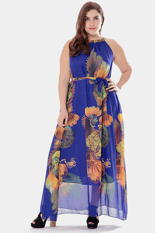 Plus Size Dreamy Chiffon Dress O Neck Floral Dress