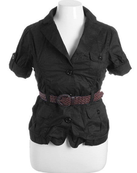 Plus Size Button Up Cuff Braided Belt Jacket Top