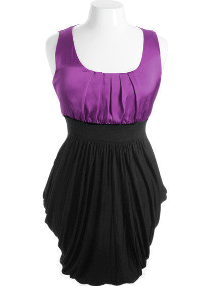 Plus Size Silky Satin Top Layered Pleat Skirt Purple Dress